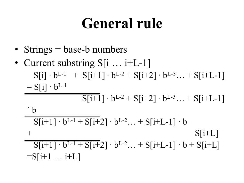 General rule Strings = base-b numbers Current substring S[i … i+L-1]